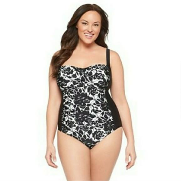 4afc0c79d6ac1 AVA   VIV Black White Floral One Piece Swimsuit